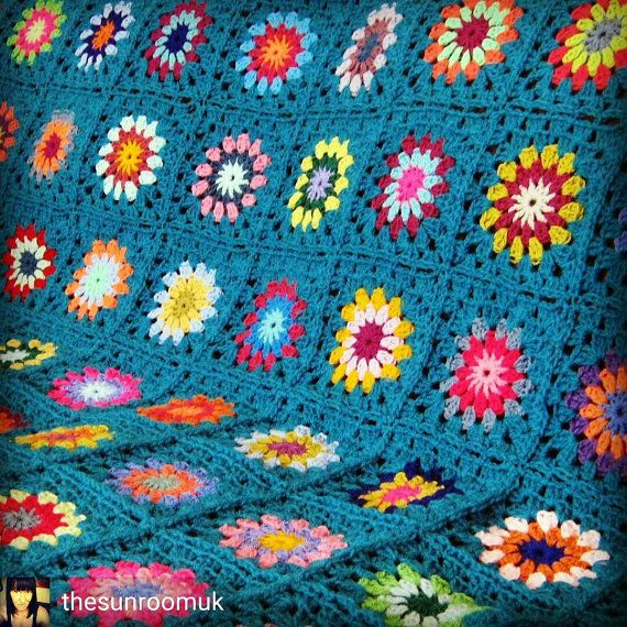Teal Crochet BLANKET Large Retro Sunburst Granny Squares 56 x 56