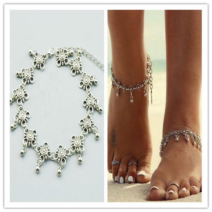 Mode-sieraden vintage voet sieraden verzilverd bloem ketting enkelbandje gift voor vrouwen meisje AN65