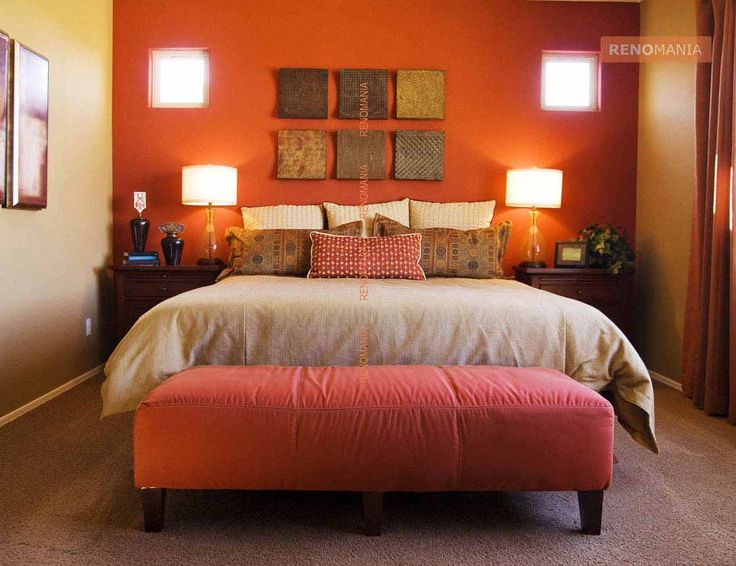 fabulous orange accent wall bedroom | 56 best images about Colour at home: Orange on Pinterest ...