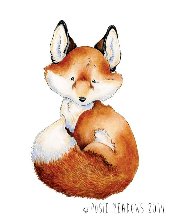 Will Scarlet - Baby Fox Watercolor Giclee Print, Original Artwork, Children's illustration, Nursery Wall Art