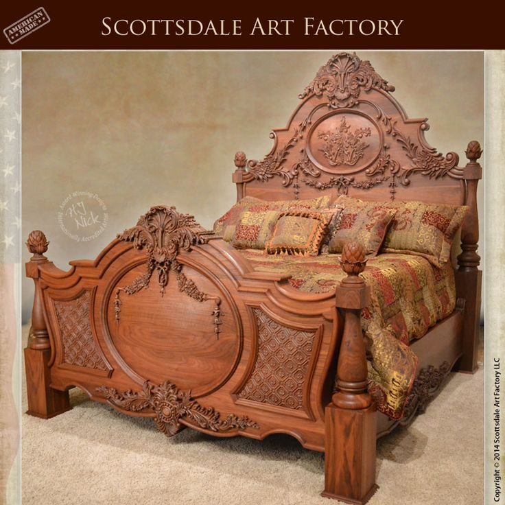 Hand Carved Bed Walnut - Custom Wood Bedroom Furniture - Carved by the hands of our in house master wood carver this king size bed frame is hand crafted from solid grain matched walnut wood and features a 23-step fine art finish to guarantee this hand carved custom bed last for generations.