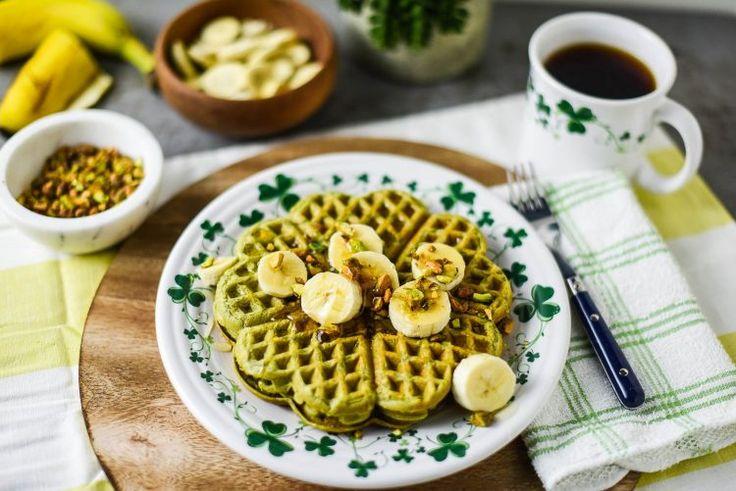 Green Tea Shamrock Waffles with Banana Coins & Pistachios