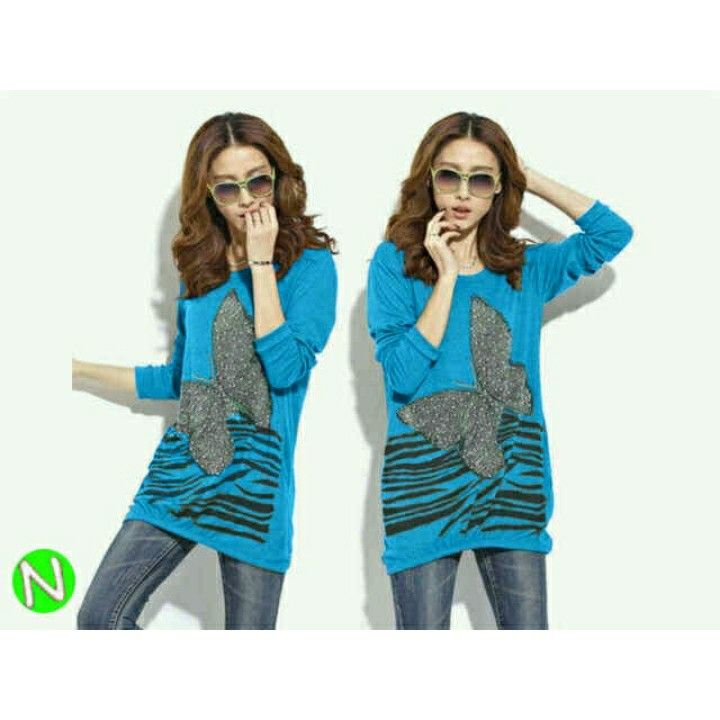 42777 _20 blouse butterfly,,,combat) fit to L besar,,(pjng77cm),,(biru) 69.000 IDR (sf) .