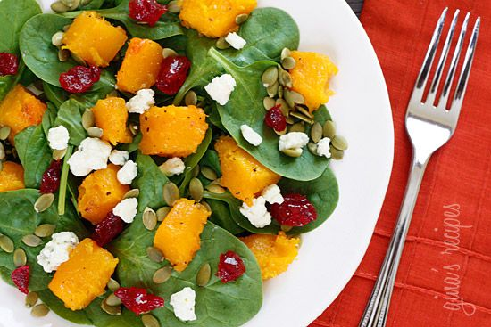 Baby Spinach Salad with Honey Roasted Butternut Squash, Pumpkin Seeds, Gorgonzola and Dried Cherries