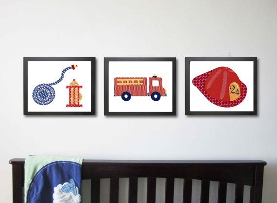 Fire Truck Nursery Art, Fireman Nursery, Kids Art Prints, Children's Decor, Kids Wall Art, Set of 3 8x10, Fire Truck Nursery, Fireman