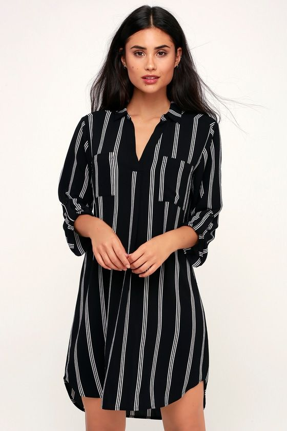 68b6edc4ea1 Meet Chic Black and White Striped Shirt Dress in 2019 | What Momma Wants. |  Striped shirt dress, Dresses, Shirt dress