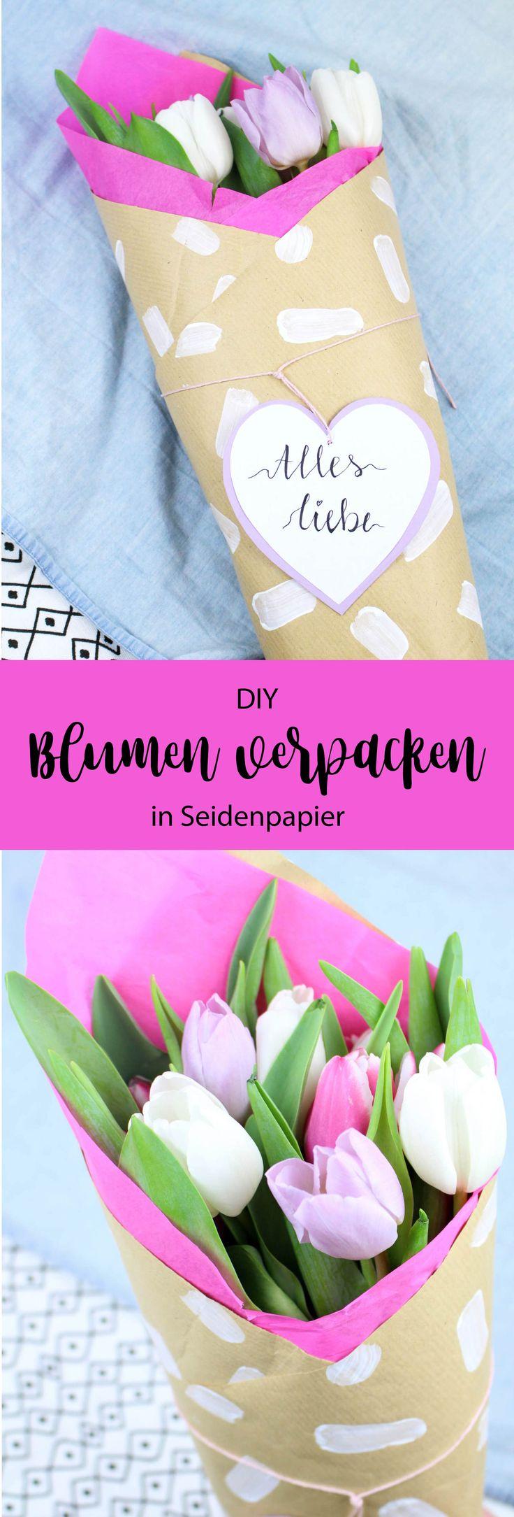 DIY Geschenkverpackung für Blumen: So verpackst du Blumen und Blumensträuße liebevoll in Seidenpapier und Kraftpapier. Ideal als Geschenkidee und Mitbringsel zum Geburtstag, zur Hochzeit, für deine Freunde, deine Familie und deine Liebsten. In einem einfachen DIY Tutorial erfährst du wie man die Blumen hübsch verpackt.