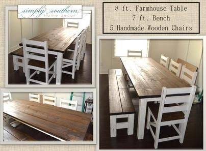 Completely Handmade Farm Table Bench And Chairs Simply Southern Home Decor