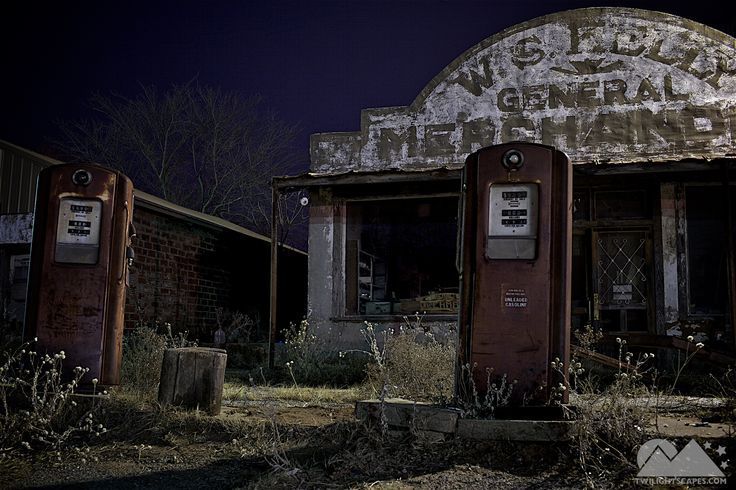 Night 236 Abandoned gas pumps in front of an old gas station and general store in  very remote section of Oklahoma. A scene from the movie Rain Man was filmed here.   View More: http://yearofnight.com/night-236/ Tags:  #Abandoned, #Building, #GasPump, #GasStation, #LightPainting, #Oklahoma, #Pump, #Road, #Twilightscapes, #Yearofnight