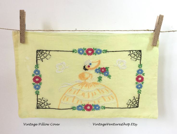 Lovely Victorian Lady! Vintage Pillow Cover at #VintageVenturesShop #Etsy to buy click image #PillowCover #PillowCase #BedLinens #EmbroideredPillowCover #HandEmbroidery #VictorianEra #VintagePillowCover #ShabbyChicDecor #CottageDecor #AntiqueLinens