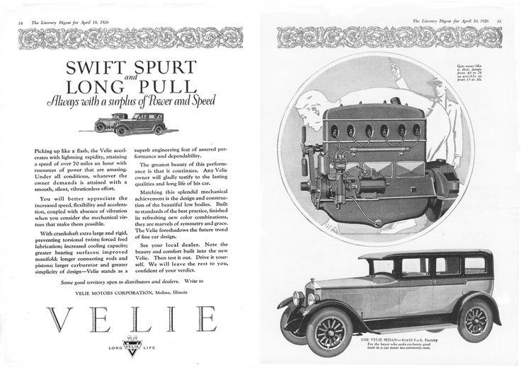 1926 Velie: Gears Vintage, Veli Ads, Low Gears, Vintage Cars, 1926 Velie, Cars Ads, Defunct Low, Veli Cars, Classic Ads