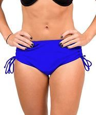 H20h! High Waisted Luxe Side Scrunch BIKINI Bottom Blue Large New
