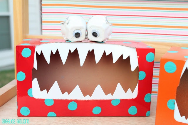 Monstros feitos com caixa de papelão - Dicas pra Mamãe