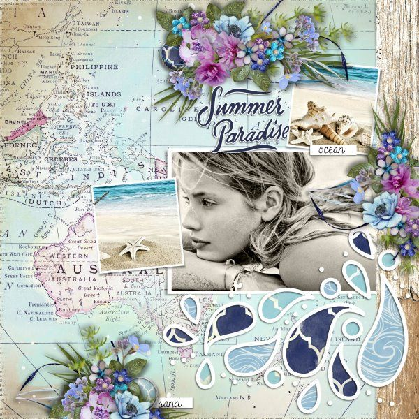 Kit Mermaid Kisses by Raspberry Road Designs. Template Just Add Water by Heartstrings Scrap Art. Photos from Desktop Nexus.