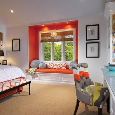 Eclectic Bedroom .... can build around the window to make it look like the same effect.( cm like the window seat bump out and the simple footstool)