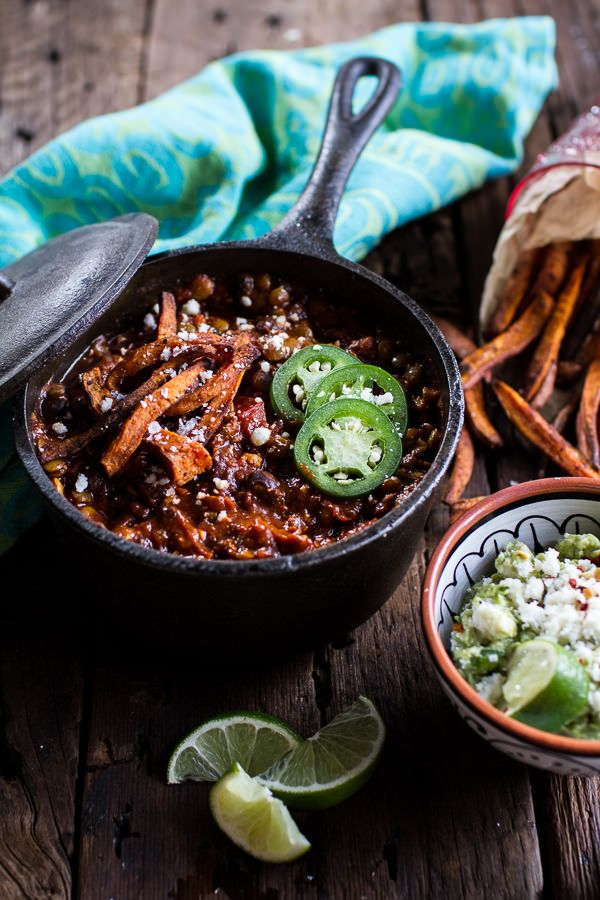 Spicy Black Bean and Lentil Chili with Cotija Guacamole + Chipotle Sweet Potato Fries-5