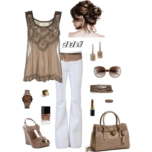 Taupe and White: Fashion, Style, Clothes, Summer Outfits, White Outfit, White Pants, Shirt, Top