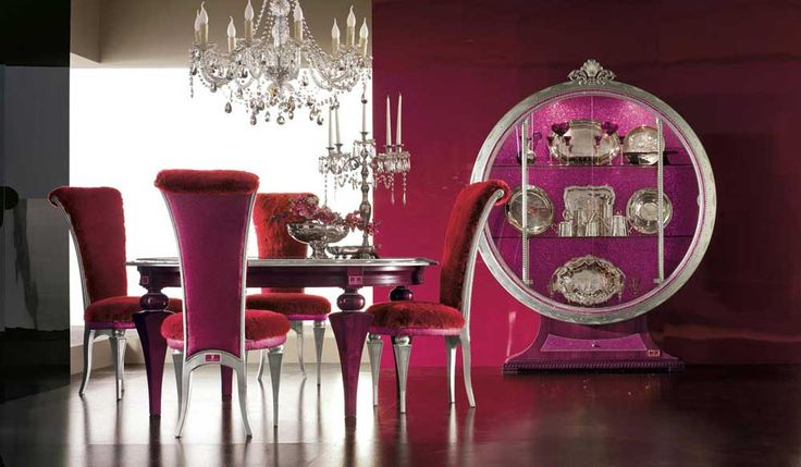 Luxury dining room furniture sets with purple chair and wall