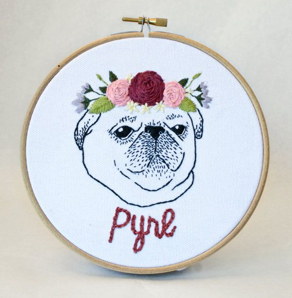 Custom Dog Portrait Embroidery Hoop - Personalized pet art - gift for dog lovers - pet memorial - housewarming - wall art - home decor
