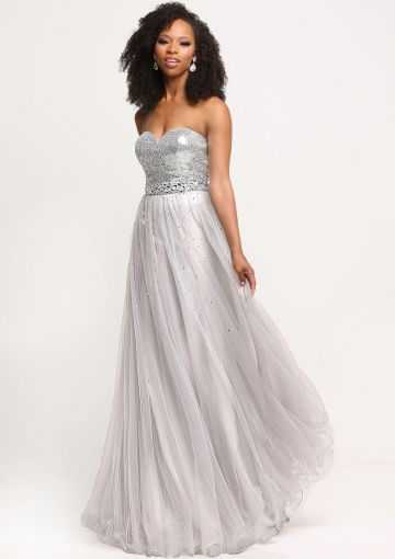 Cheap and Australia Sweetheart Open Back Sequins A-line Tulle Sleeveless White Floor Length Prom / Homecoming Dresses from En.dresses4Australia.com.au