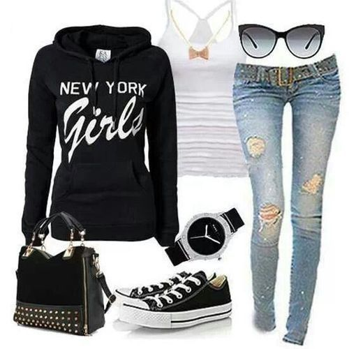 New York Girls black sweater and jeans