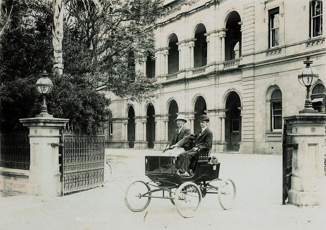 Locomobile with James Trackson at the tiller, Parliament House, Brisbane, ca. 1902   Flickr - Photo Sharing!