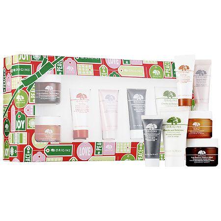 $42; Origins - Bestsellers Set - 1 oz GinZing moisturizer, 1 oz Night-a-Mins renewal cream, 0.5 oz GinZing eye cream, 0.5 oz Original Skin renewal serum, cleanser, charcoal mask  #sephora