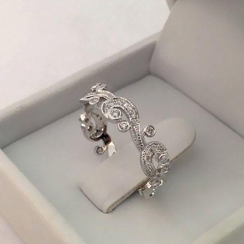 Milgrain Floral Wedding Ring Antique Style Anniversary Ring Diamond Wedding Band