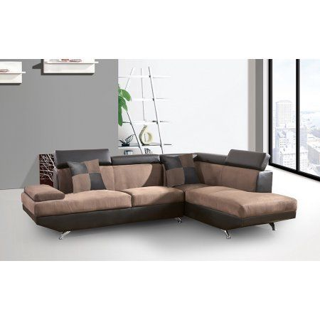 Best Contemporary Laura Sectional Sofa Two Tone Brown Suede And 400 x 300