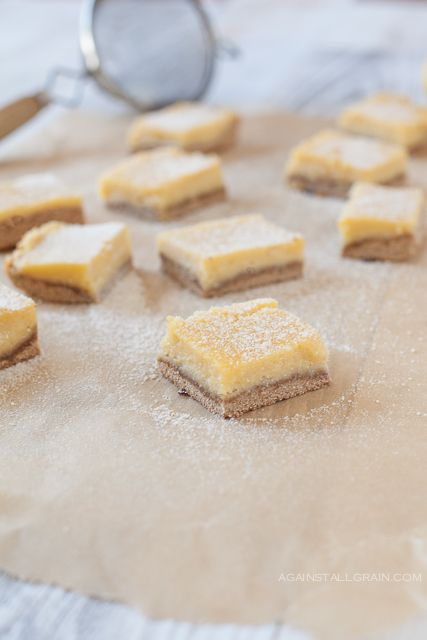 Loved these lemon bars. Used round tins with push up bottoms (cheesecake metal mold) to make them. So good and satisfied sweet craving without refined sugar!