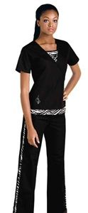 Baby Phat Women's Kingdom Scrub Top 26873  Two garments become one in an innovative mock wrap top.  This solid top has a fashionable zebra print peaking out of both the front V inset and bottom hem.  A  silver feline logo is placed at the bottom right front pocket and a silver Baby Phat logo is placed below the back neckline.  Two side inset pockets and side vents complete this slim top. Center back length 24.5.    $21.00 #babyphat #scrubs #nurses #scrubcouture