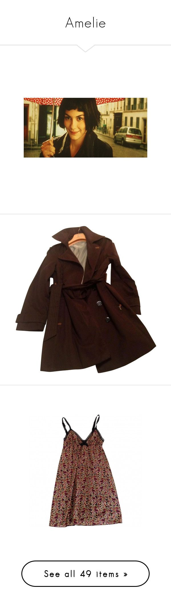 """""""Amelie"""" by the-secret-garden ❤ liked on Polyvore featuring amelie, people, destin, outerwear, coats, dark brown trench coat, brown trench coat, dark brown coat, trench coat and cotton trench coat"""