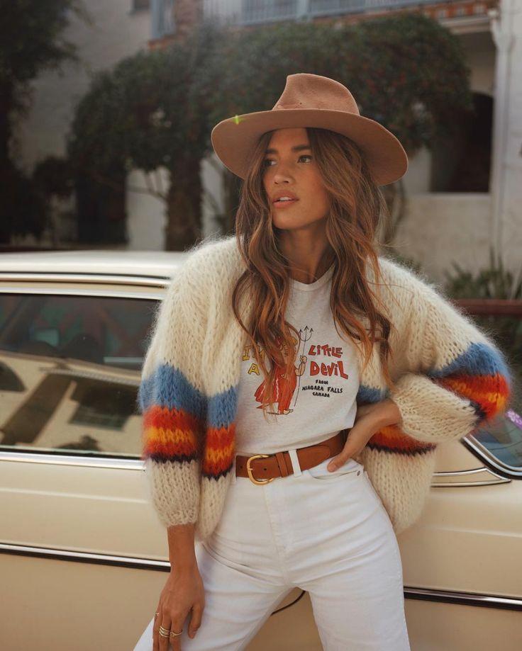Autumn and winter colourful rainbow sweater knit cardigan – #Autumn #cardigan #co…