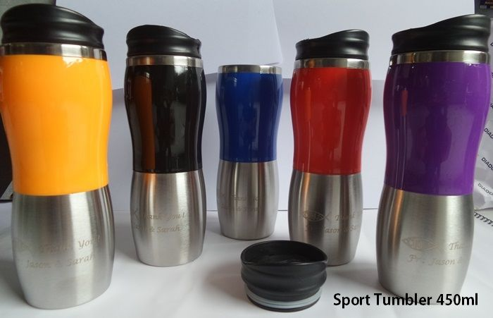 Sport Tumbler 450ml capacity Size: 22 x 6.5 x 6.5cm, Capacity: 450ml. Color: Black, Blue, violet, yellow and Red. Whether you're looking for unique promotional products to merchandise your company? Tumbler Sport types can be your choice. Made of steel with a material that is safe to use. Attending the two-tone design in black and silver colors, ideal for companies that want goods or merchandise exclusive promotions. To order a certain amount can print your company name and logo.