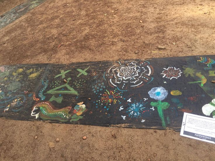Paintings on the Rainbow Serpent Project at Fairbridge Festival. See more at www.fairbridgefestival.com.au