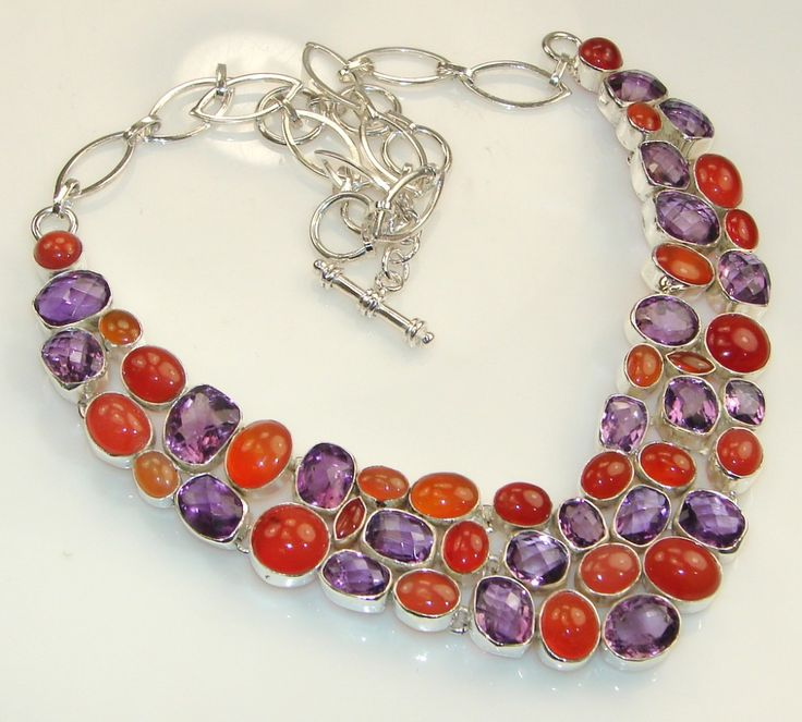 Natural German Carnelain & Amethyst Designer Silver Necklace