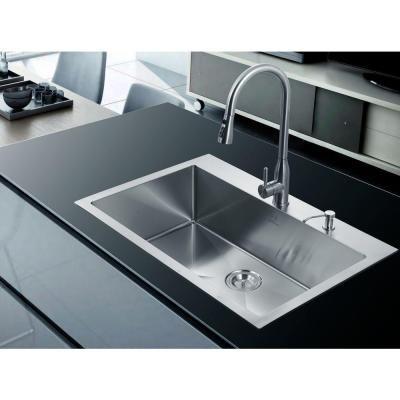 White Overmount Single Basin Kitchen Sink
