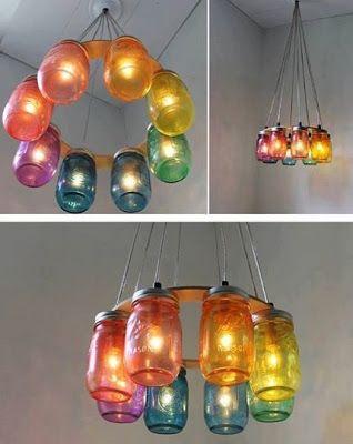 Original iluminación con frascos de vidrio ~ Portal de Manualidades