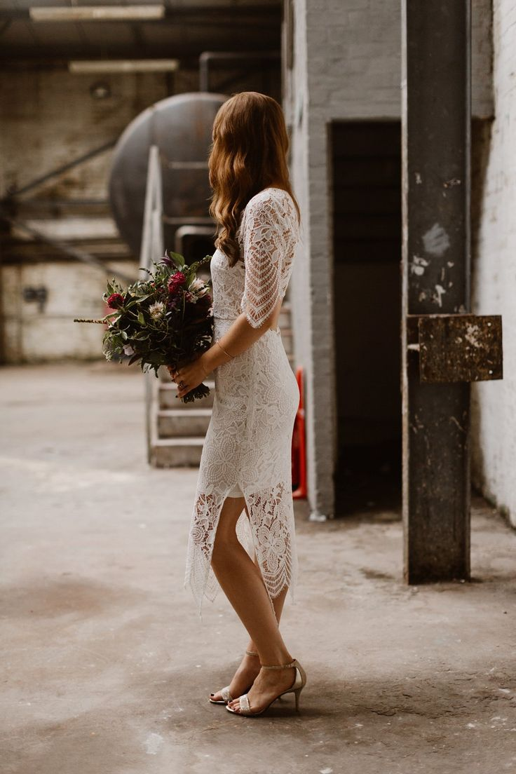 PIN UP HAIR GLASGOW hairstylist // THE CURRIES photography / SPARROW + ROSE florist  Katie wore a For Love & Lemons dress for her cool, modern, warehouse wedding in Glasgow. Photography by The Curries.
