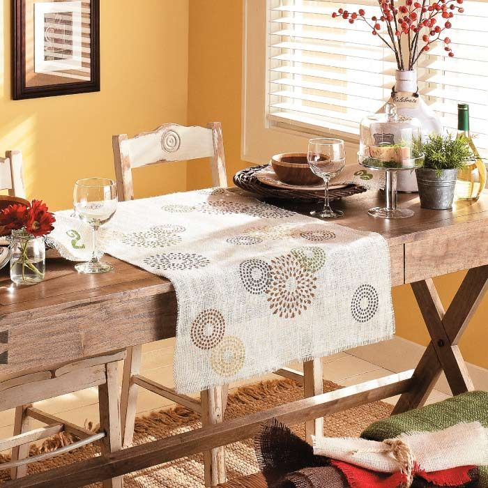 The runner is made from durable burlap fabric that's covered in fun stenciled patterns. Perfect for Painting. Burlap is a strong and affordable home decor material.
