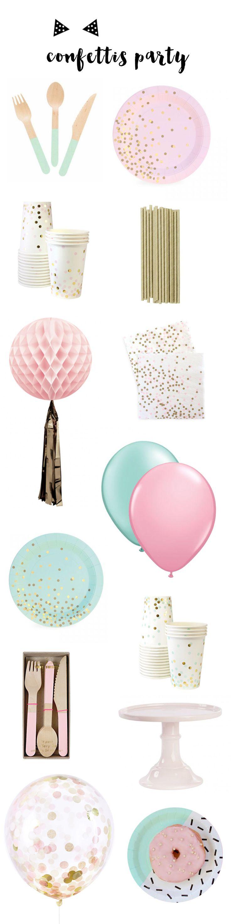 Sélection de vaisselle et d'accessoires déco pour une fête autour des confettis, à retrouver sur www.rosecaramelle.fr #confettis #funfetti #party #fete #deco #anniversaire #vaisselle #decoration #confetti #kids #birthday #pink #rose #menthe #mint #pastel