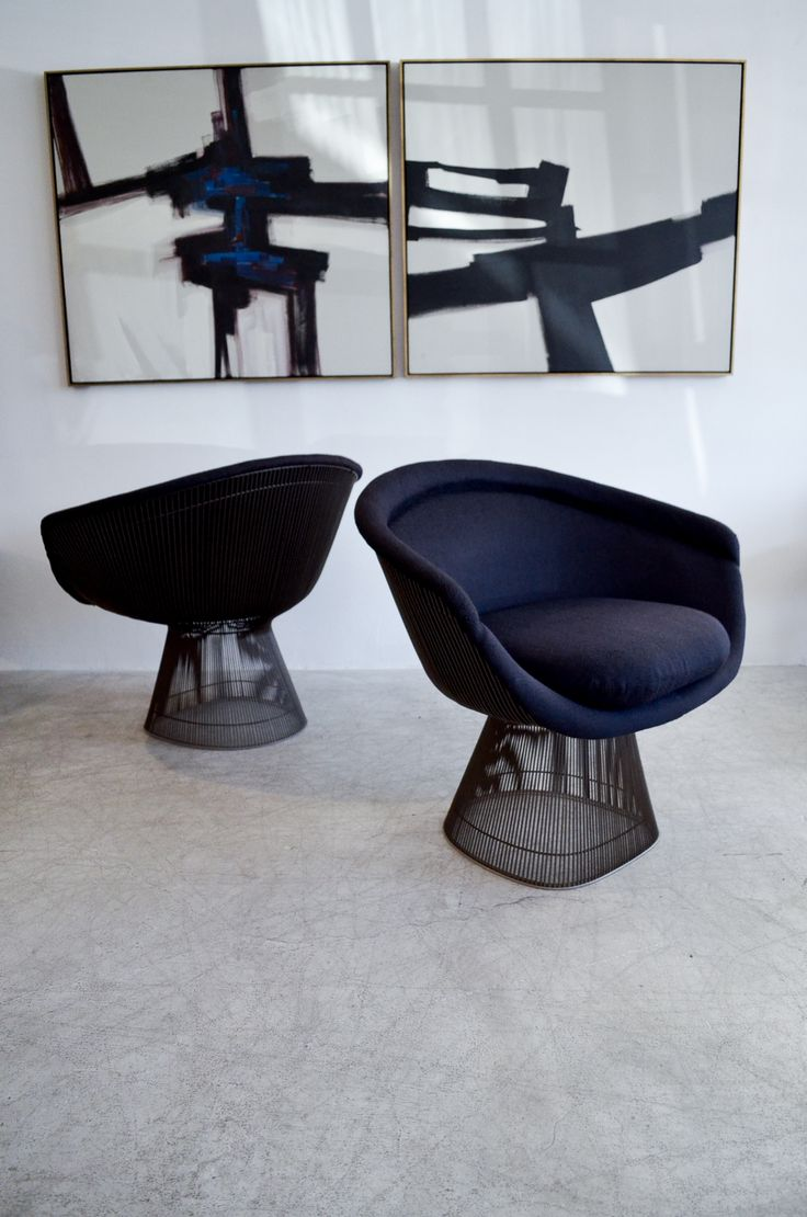 Pair of Bronze Warren Platner Lounge Chairs Original Knoll Fabric from 1971 HEIGHT:	30 in. (76 cm) WIDTH:	37 in. (94 cm) DEPTH:	24 in. (61 cm) SEAT HEIGHT:	19 in. (48 cm)
