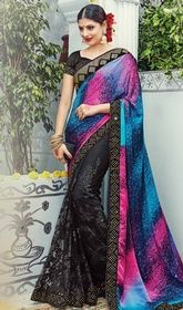 Designer Sari in Multicolor Shaded Satin and Silk Sari  #utsavdesignersarees #designersarees Unfold the aura of freshness with this designer sari in multicolor shaded satin and silk sari showing a effect of sensuality. The ethnic lace, resham and stones work with saree adds a sign of splendor statement for the look. Upon request we can make round front/back neck and short 6 inches sleeves regular saree blouse also.  USD $ 245 (Around £ 169 & Euro 186)