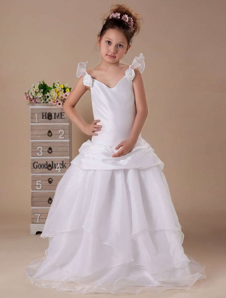 White V-neck Taffeta Floor Length Flower Girl Dress