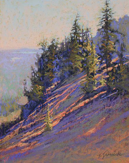 "Morning Rays on the Mountainside by Barbara Jaenicke Pastel ~ 10"" x 8"""