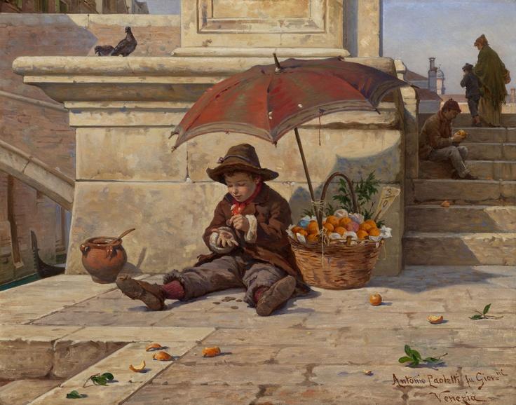 The Little Orange Seller, Antonio Paoletti. Italian (1834-1912)