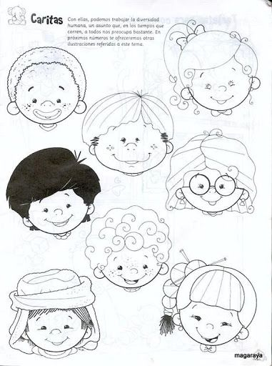 Coloring pages with kids faces // Caras de niños para colorear
