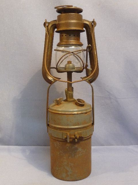 Original WWII German Metal Lantern with Large Fuel Tank
