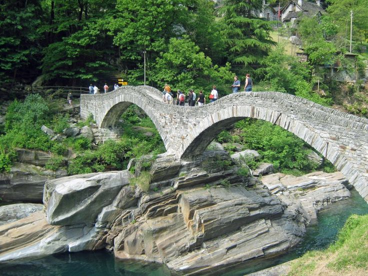 Ponte dei Salti bridge (also known as Roman bridge) over Verzasca river, Switzerland