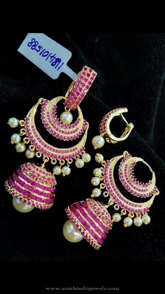 Imitation Ruby Jhumka Designs, Gold Plated Ruby Jhumka Designs.
